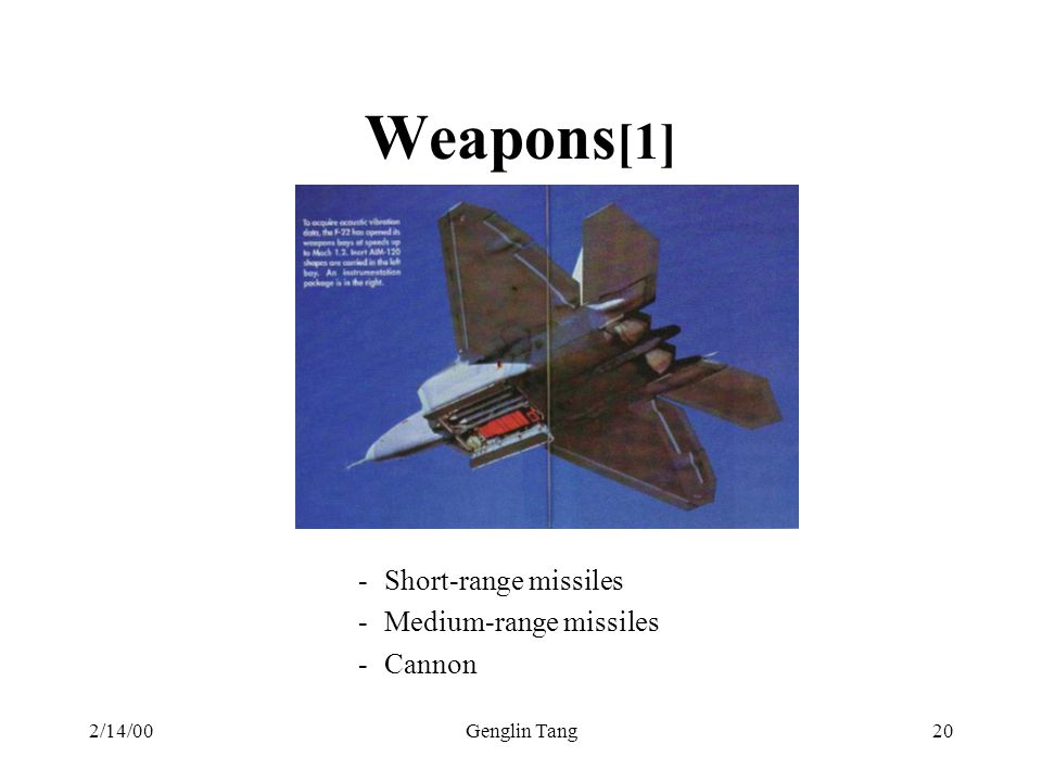 Weapons[1] Short-range missiles Medium-range missiles Cannon 2/14/00